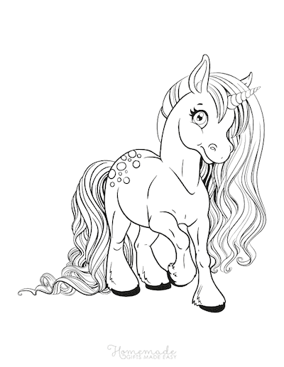 Unicorn Coloring Pages Unicorn Wide Eyes Long Flowing Mane Tail