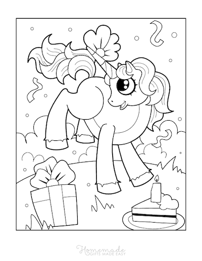 Unicorn Coloring Pages Unicorn With Birthday Cake Gifts