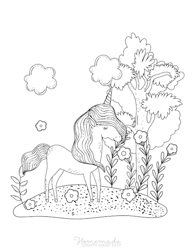 Unicorn Coloring Pages Unicorn With Long Mane Under Tree With Flowers