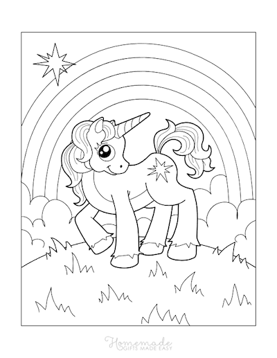Unicorn Coloring Pages Unicorn With Star Rainbow