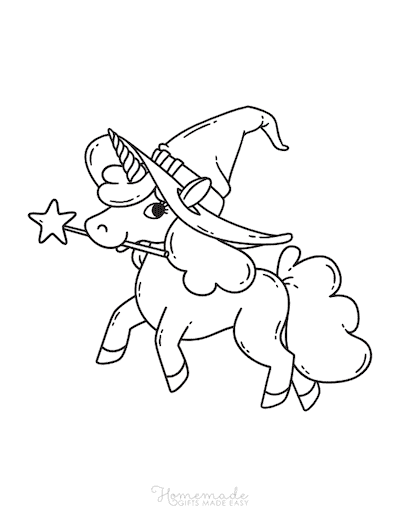 Unicorn Coloring Pages Unicorn With Wand Witches Hat