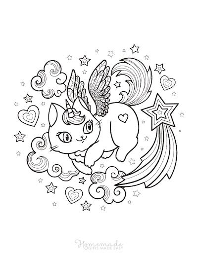 Unicorn Coloring Pages Winged Caticorn Clouds Stars