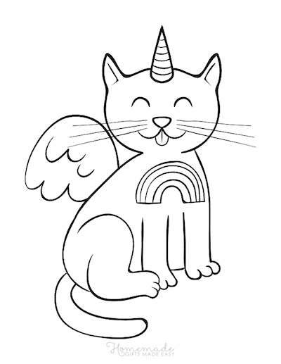Unicorn Coloring Pages Winged Caticorn Whiskers Rainbow
