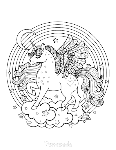 Unicorn Coloring Pages Winged Unicorn Majestic on Clouds Rainbow Stars