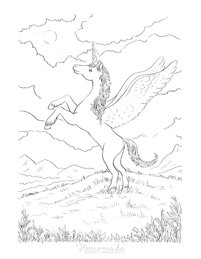 Unicorn Coloring Pages Winged Unicorn on Grassy Hill With Clouds Above