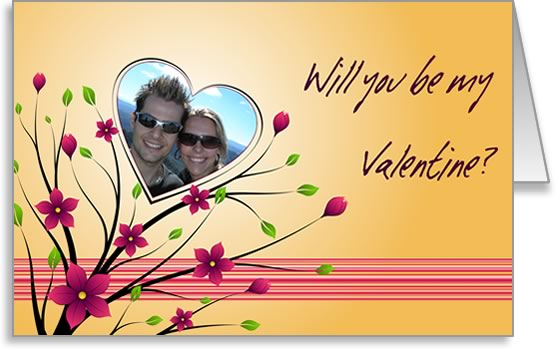 valentine photo card template heart and flowers