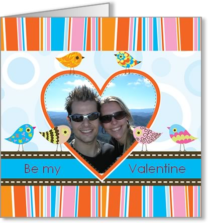 valentine photo card template orange heart and birds