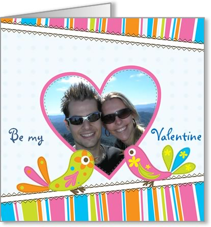 valentine photo card template pink diagonal heart and birds
