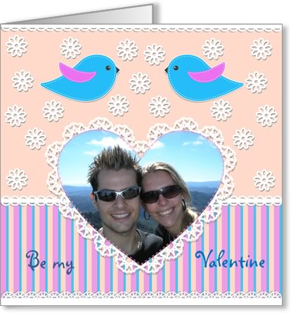 valentine photo card template pink heart and birds