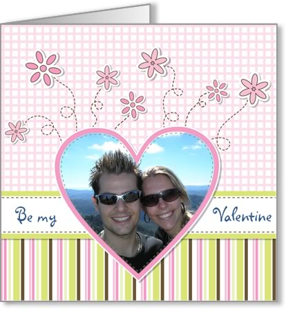 valentine photo card template heart with twirly flowers