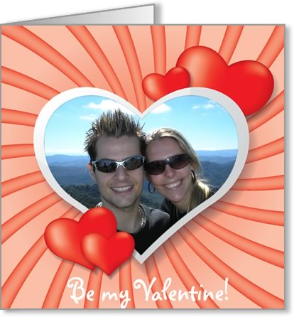 valentine photo card template swirly heart frame