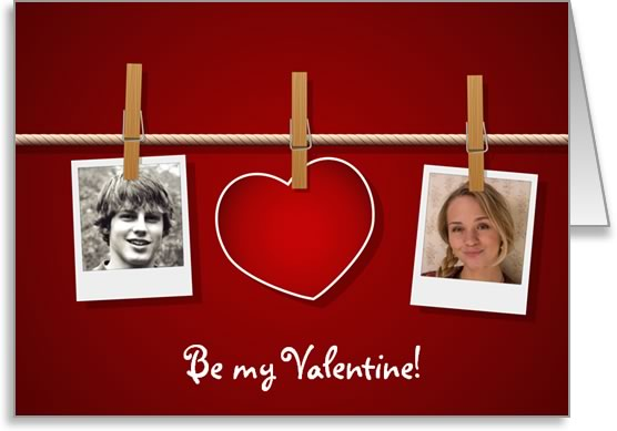 valentine photo card template washing line love