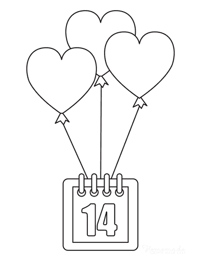 Valentines Day Coloring Pages 14 Calendar Heart Balloons