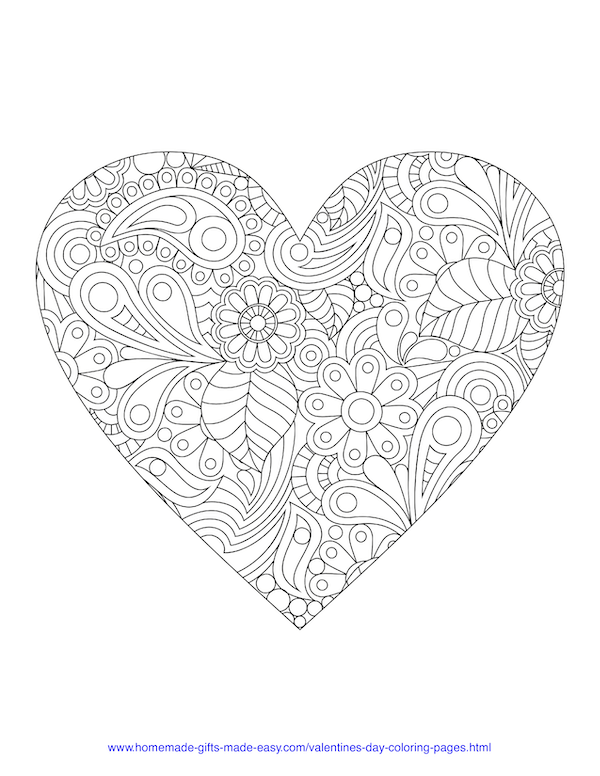 valentines day coloring pages - adult intricate heart
