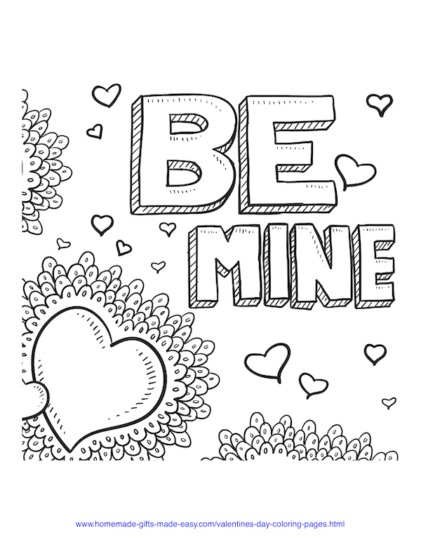 valentines day coloring pages - be mine