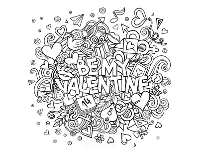 Valentines Day Coloring Pages Be My Valentine Doodle