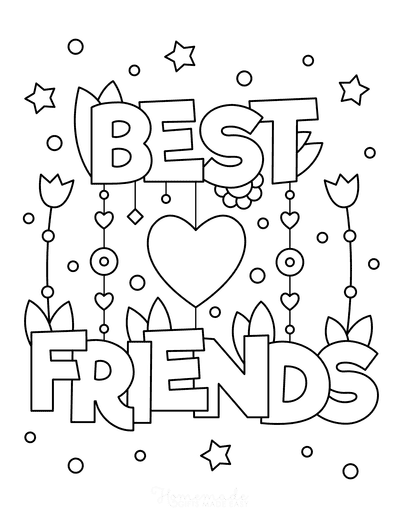 Valentines Day Coloring Pages Best Friends Heart