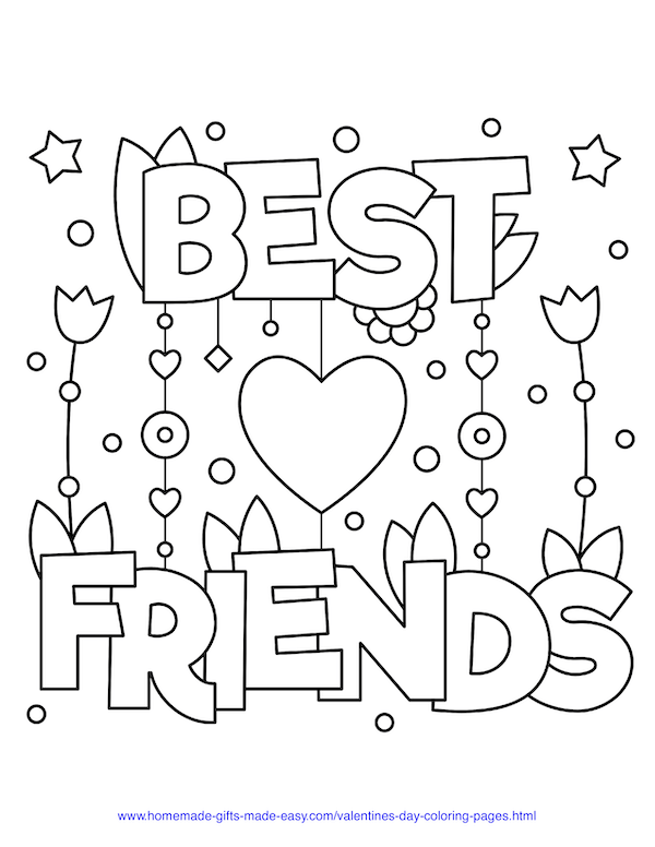 valentines day coloring pages - best friends