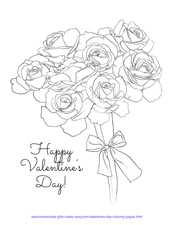 valentines day coloring pages - bunch of roses