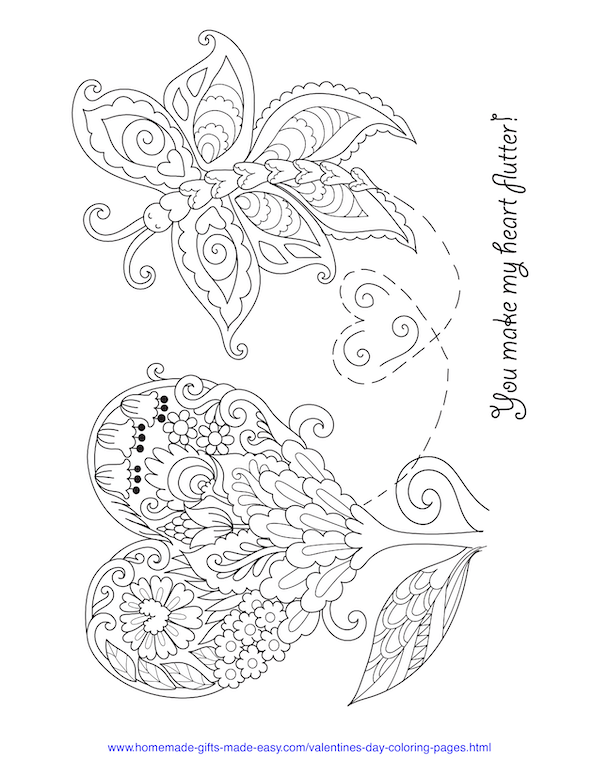 valentines day coloring pages - heart and butterfly