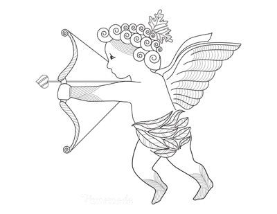 Valentines Day Coloring Pages Classical Cupid Heart Arrow