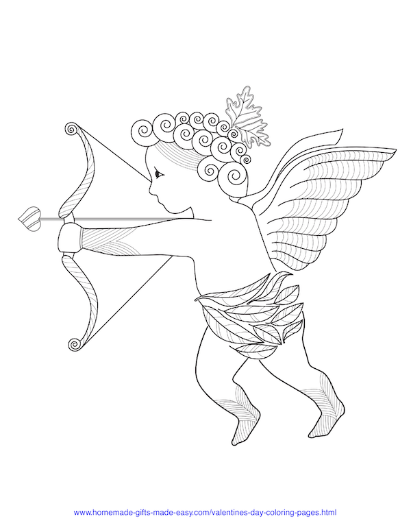valentines day coloring pages - cupid shooting his arrow