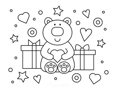 Valentines Day Coloring Pages Cute Bear Heart Gifts