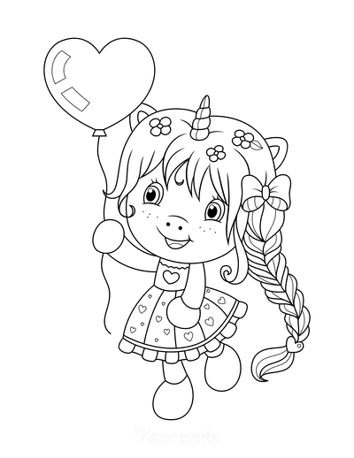 Valentines Day Coloring Pages Cute Cartoon Girl Heart Balloon