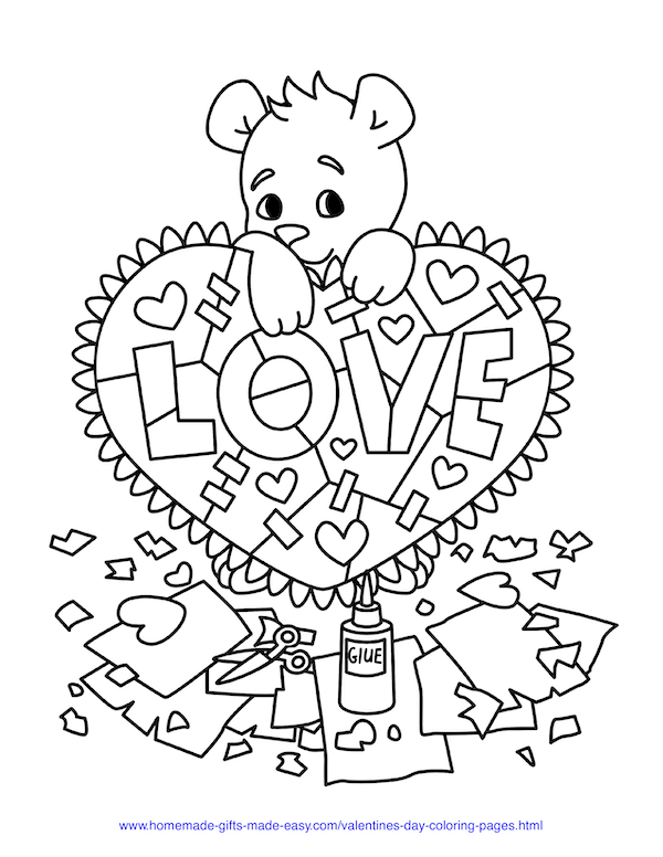 valentines day coloring pages - teddy bear crafting