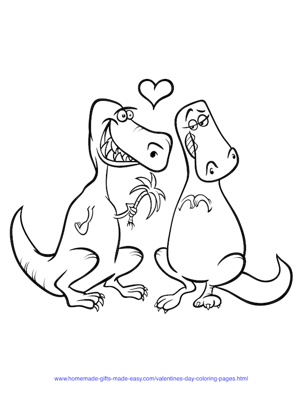valentines day coloring pages - dinosaurs