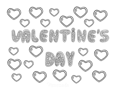 Valentines Day Coloring Pages Doodle Heart Bubbles