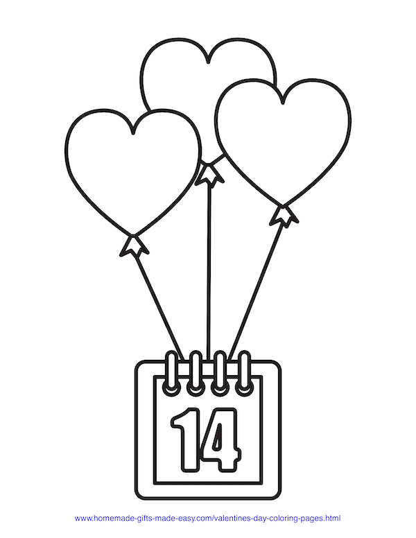 valentines day coloring pages - calendar with hearts