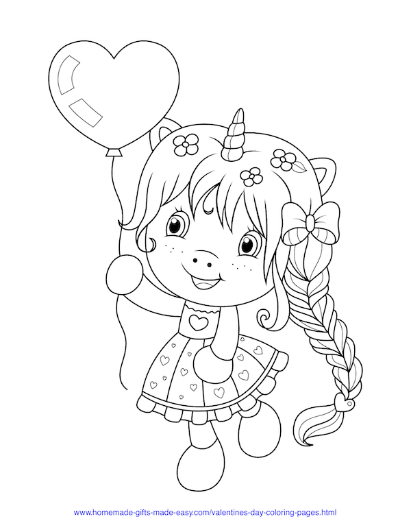 valentines day coloring pages - girl with unicorn horn and heart balloon