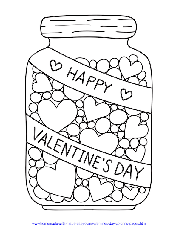 valentines day coloring pages - jar of love candies