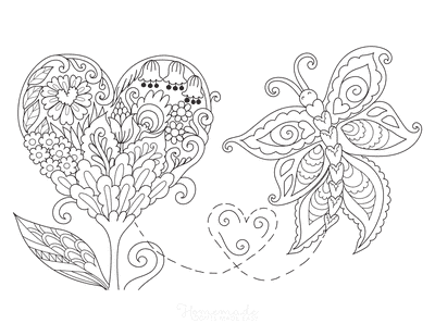 Valentines Day Coloring Pages Heart Flower Butterfly Doodle
