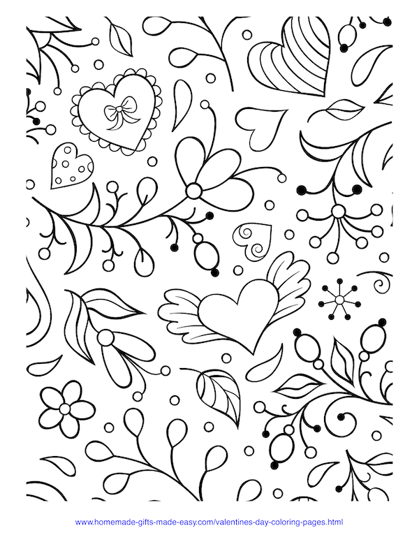 valentines day coloring pages - hearts and flowers doodle
