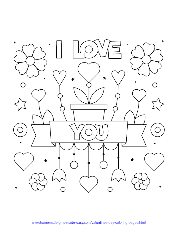 valentines day coloring pages - I love you heart sign