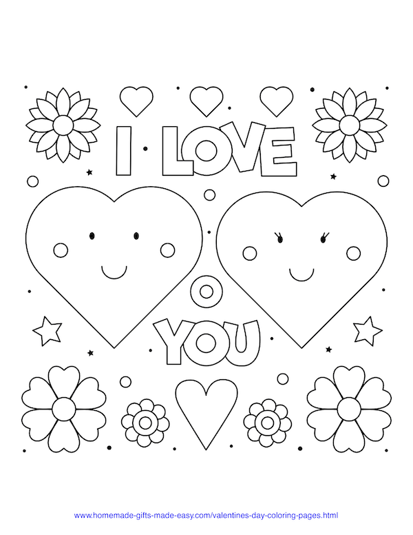 valentines day coloring pages - I love you hearts and flowers