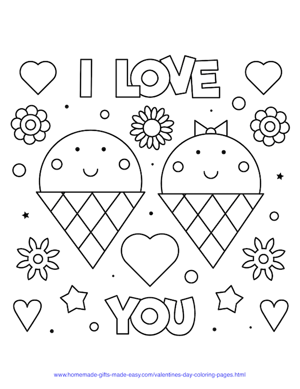 valentines day coloring pages - I love you icecreams sign