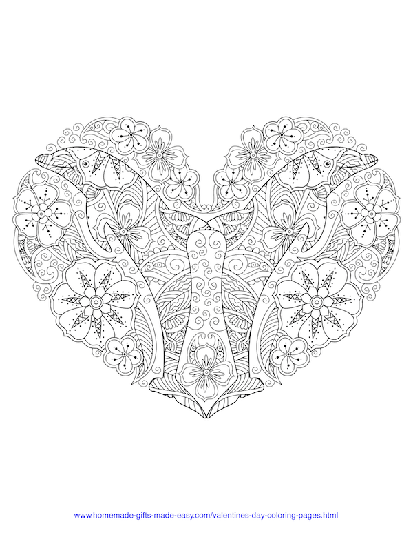valentines day coloring pages - intricate dolphins heart adult