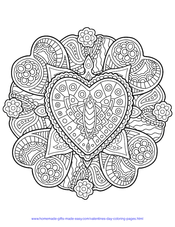valentines day coloring pages - intricate heart and flowers mandala adult