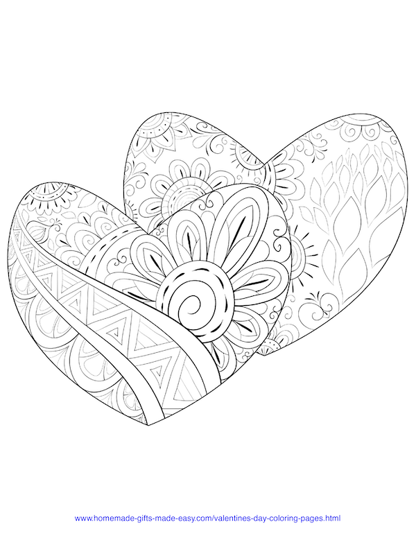 valentines day coloring pages - intricate pattern hearts adult