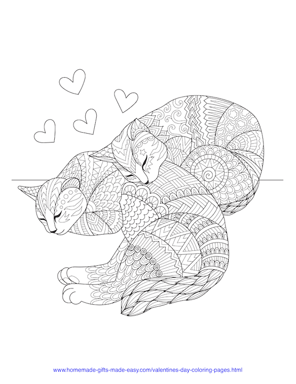 valentines day coloring pages - love cats cuddling adult