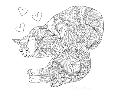 Valentines Day Coloring Pages Love Cats Patterned Drawing for Adults