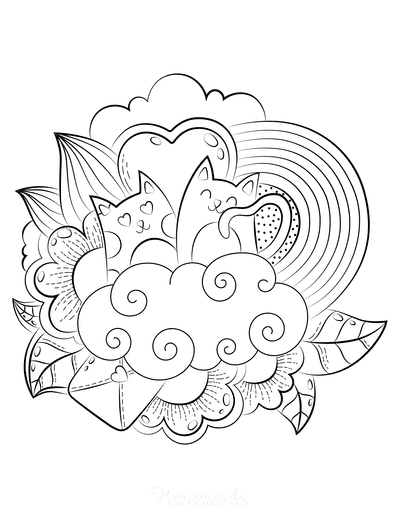 Valentines Day Coloring Pages Love Cats Valentine