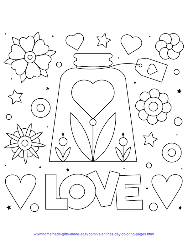 valentines day coloring pages - love flower in jar