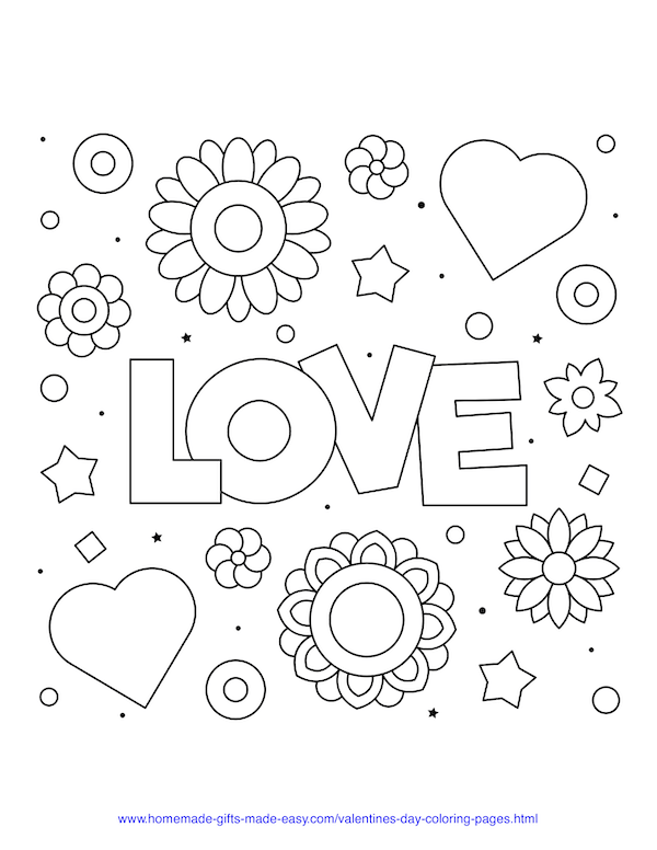 valentines day coloring pages - love sign with hearts and flowers