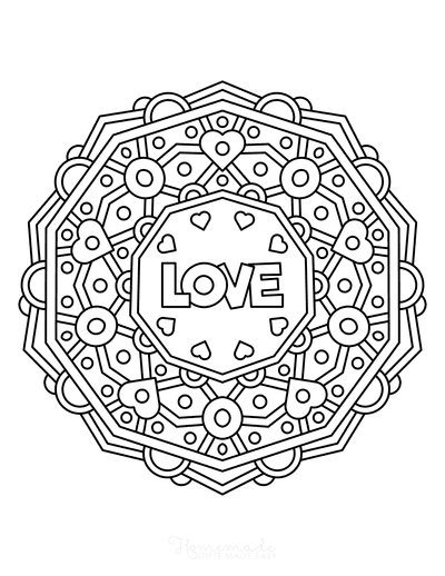 Valentines Day Coloring Pages Love Heart Mandala for Kids