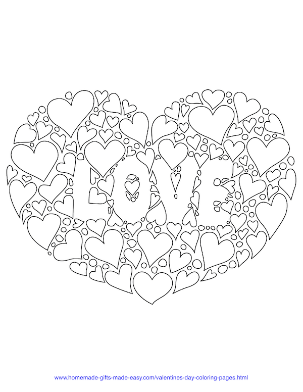 valentines day coloring pages - heart full of hearts