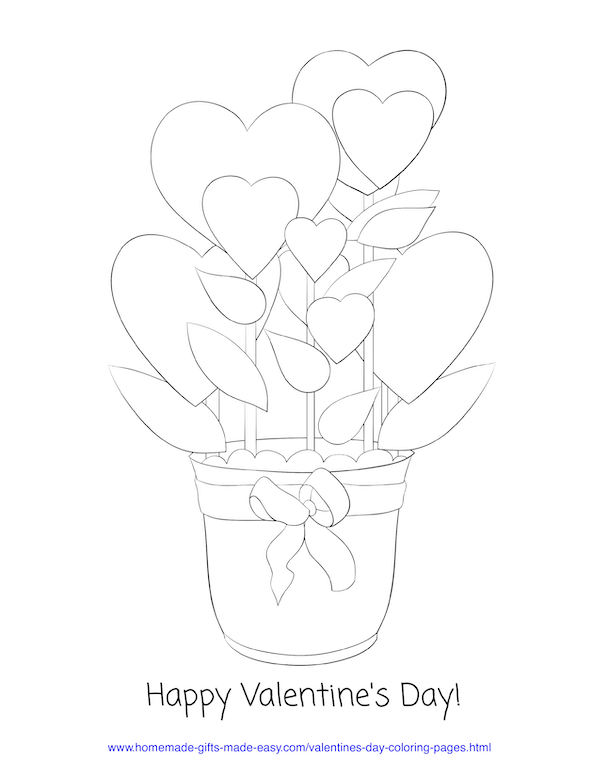 valentines day coloring pages - hearts pot plant